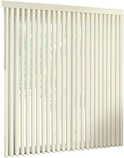 """spotblinds Off White-Cordless-Custom-Made, Premium PVC Vertical Blinds -Assembled in The US-Exact Width & Length from 86"""" Wide to 68"""" Long. This Listing is (93"""