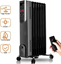 Electric Oil Heater - 1500W Oil Filled Radiator Heater with Smart Thermostat, 250 Sq Ft Coverage, Safety Protection, LED Digital Display, Space Heater Perfect for Large Room Heater Portable Indoor