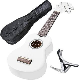 AW 21 Inch White Soprano Ukulele Basswood w/Bag Aluminum Capo For Adult Kids Study Musical Instrument