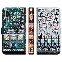 ブレインズ iPhoneXS iPhoneX 手帳型 ケース カバー 桜レトロデザイン 青 アトリエアイリス 猫 かわいい おしゃれ 桜 花 デザイン