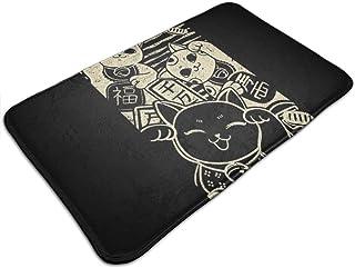 HUTTGIGH Wish Me Luck Maneki Neko - Alfombrilla antideslizante para puerta de entrada, alfombra de baño, alfombra de cocin...