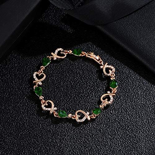 Janly Clearance Sale Pulseras para mujer, pulsera de cristal para mujer, pulsera de amor, día de San Valentín, boda, joyería de novia, joyería y relojes para Navidad, día de San Valentín (verde)