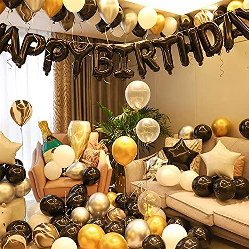 FDQNDXF Kit de Decoración de Globos de Oro Negro, Juego de Suministros para Fiesta de Cumpleaños con Lentejuelas Doradas, Decoración de Pancartas de Feliz Cumpleaños, para Aniversario/Graduación