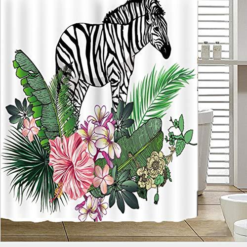 HBZZCL Duschvorhang 3D Digitaldruck Zebra-Pflanze Maschinenwaschbar Polyester Fabrik Wohnaccessoires 12 Duschvorhangringen-200(W) X180(H) cm