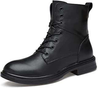 DIBAO Motocycle Boots for Men Round Toe High Top Lace Up Plain Block Heel Pull Tap Stitiching Semisynthetic Leather Arctic...
