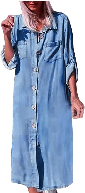 Women's Loose Lapel Light Blue Denim Dress With Pocket Long Cuffed Sleeve Button Down Shirt Jean Dress Blouse Dress