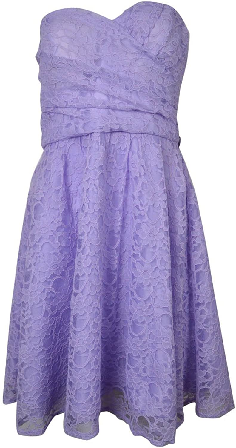 Marina Women's Belted Lace Sweetheart Strapless Dress