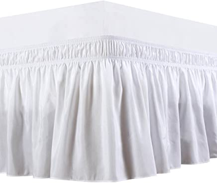 featured product Biscaynebay Wrap Around Bed Skirt,  Elastic Dust Ruffles,  Easy Fit Wrinkle and Fade Resistant Solid Color Hotel Quality Fabric,  Queen,  15 Drop,  White