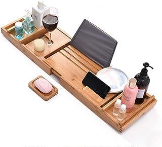 浴槽用高級バスキャディトレイ|バステーブル|浴槽用プレミアム竹浴槽トレイ|すべてのバスアクセサリーに適合ワイングラス、本、タブレット、携帯電話、シャンプー、石鹸|バスシェルフ折りたたみ式(Siz