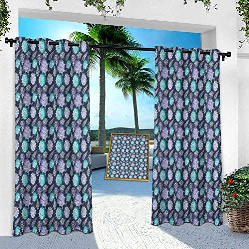 YUAZHOQI Outdoor Curtains, Ocean Theme Seashells Scallop Summer Marine Coastal Grunge, W 52' x L 108' Thermal Insulated Outdoor Patio Curtains for Light Block(1 Panel)