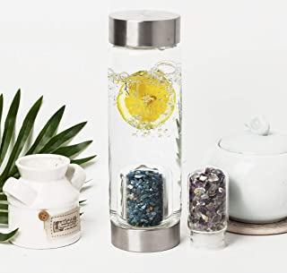 AMOYSTONE Glass Water Bottle Crystal Two-Mouth Drinking Bottle 16oz Kyanite+Colorful Fluorite
