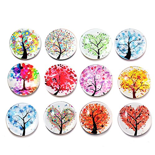 Ultnice - Magneti da frigorifero con albero della vita, in vetro, decorazione per lavagna, frigorifero, colori assortiti, 12 pezzi