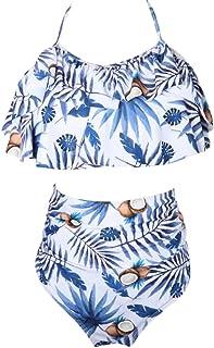 Mujer Traje de Baño Bikini de 2 Piezas Bañador de Niñas Tankinis Elástico Estampado Flores Ropa de Natación para Playa