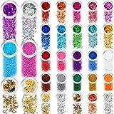 Set di Glitter a 36 Colori, Paillettes Olografiche Glitter Grosso Fine Fiocchi di Doratura di Lamina d'Oro in Metallo per Unghie, Gioielli Fai da Te Stampi per Colata di Resina, Artigianato