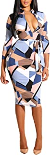 ECHOINE Women Sexy Floral Print Deep V Neck Long Sleeve Zip Bodycon Dress Club Outfits with Belt