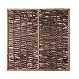 MEIN GARTEN VERSAND Weiden-Zaun/Sichtschutz Weide im Maß 180 x 180 cm (Breite x Höhe) als Flechtzaun/Flechtzäune mit umlaufenden Rahmen aus braun gebeizten Holz
