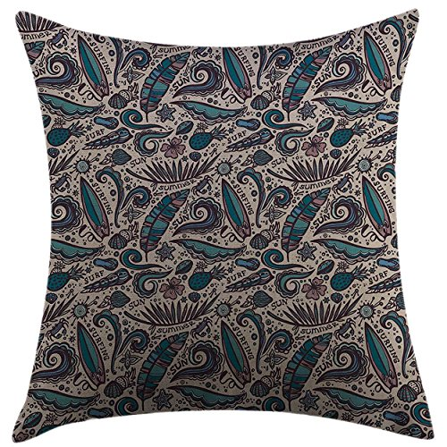 Mugod Decorative Throw Pillow Cover for Couch Sofa Home Decor,Surfboard Having Fun at Exotic Waters Tropical Beach Elements Shells Hibiscus Flowers Tan Teal Mauve Pillow case 18x18 Inch
