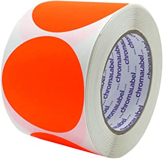 ChromaLabel 3 Inch Round Permanent Color-Code Dot Stickers, 500 per Roll, Fluorescent Red Orange