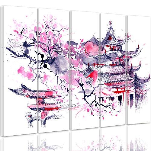 Feeby Frames, Quadro multipannello di 5 Pannelli, Quadro su Tela, Stampa Artistica, Canvas Tipo C, 70x100 cm, CILIEGIO Giapponese, Astratto, Viola