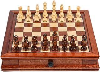 KHUY Voyage Echecs en Bois Luxe, Jeux d Echec Adulte Magnétiques, Jeu échec pour Adultes Set de Table D'échecs, Cadeaux po...