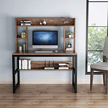 Computer Desk with Hutch, 47 Inch Modern Writing Desk with Storage Shelves, Office Desk Study Table Gaming Desk Workstation f
