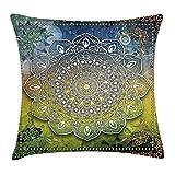 K0k2t0 Ethnic Throw Pillow Cushion Cover, Mystic Asian Mandala Zen Culture Chakra Karma Calmness and Harmony Icon Boho Design, Decorative Square Accent Pillow Case, 18 X 18 Inches