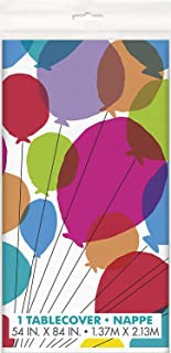 Unique Party 73123 - Balloons & Rainbow Birthday Plastic Tablecloth, 7ft x 4.5ft