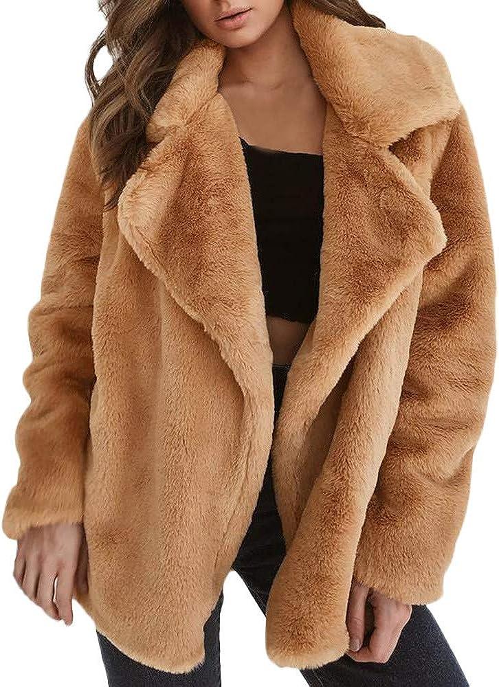 Women's Coat Casual Lapel Fleece Fuzzy Faux Warm Winte Luxury Shearling Max 45% OFF