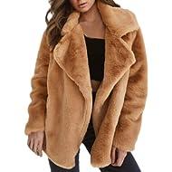 Daoroka Women Winter Warm Faux Fur Coat Jacket Ladies Notched Thick Outerwear Parka Cardigan