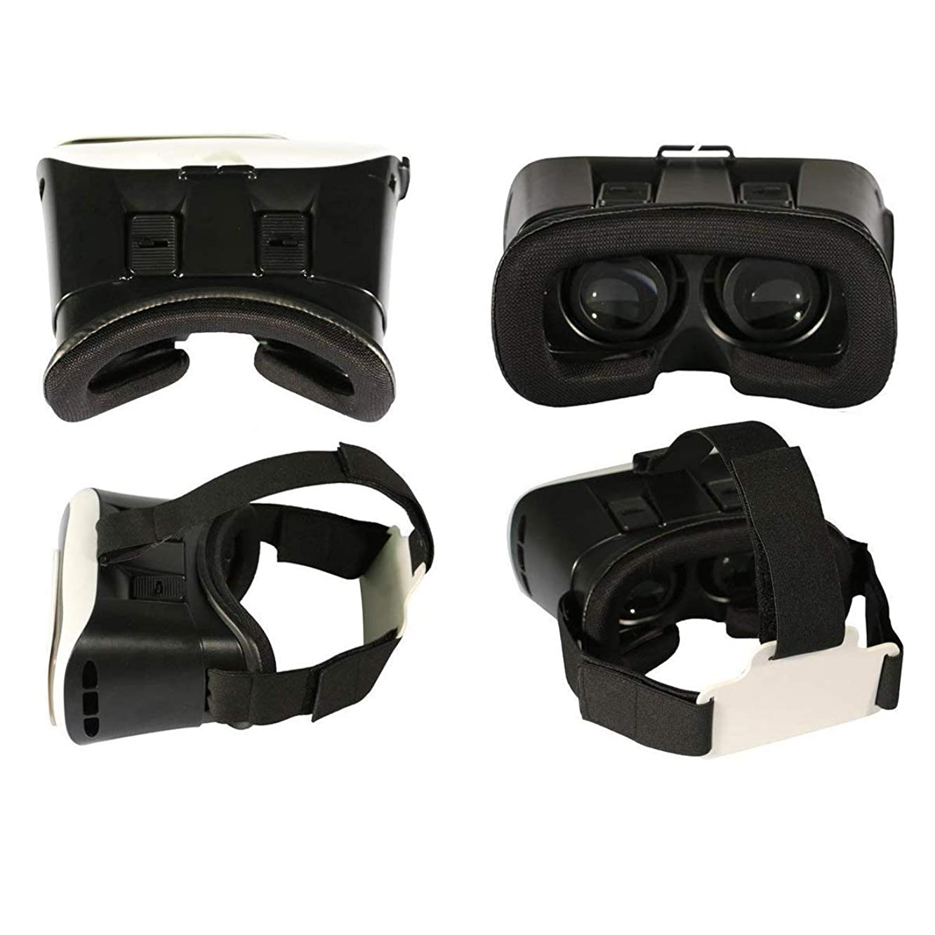 2nd Generation 3D Virtual Reality Glasses Headset Video Movie Game VR Box Glasses with Adjustable Straps/Earphone Holes/Spherical Resin Lens for 3.5~6 inch iOS Android Smartphones