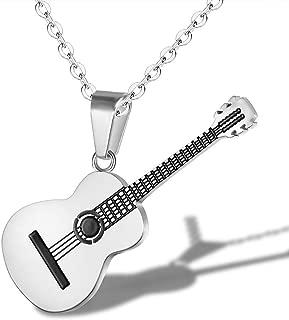 Cadena de Acero de Titanio Collar de la Música Clásica de la Guitarra Colgante para Hombres Mujeres