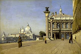 Posterazzi Collection Morning in Venice Poster Print by Jean-Baptiste-Camille Corot (18 x 12)