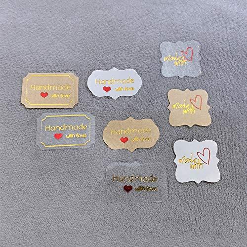 PMSMT 120 unids/Lote Lindo polígono Tricolor Hecho a Mano con Amor Etiqueta de Sellado Kraft DIY Regalo Etiqueta de Embalaje para Hornear Pasteles