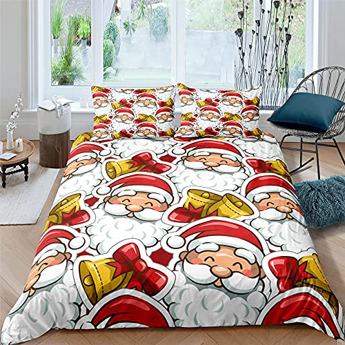 Cartoon Smile Santa Claus Bells 3D Print Bedding Set Nordic Christmas Duvet Cover Set Kids Adult Comforte Bedding Set Home Bedroom, Single Size, 3 Piece (1 Quilt Cover 2 Pillowcases)