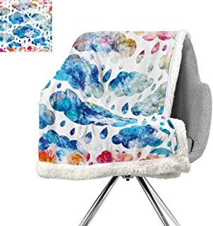 ScottDecor Modern Flannel Bed Blankets,Colorful Clouds Pattern with Raindrops Rainy Weather Artistic Sky Illustration,Blue Pink Orange,Warm Blanket W59xL31.5 Inch