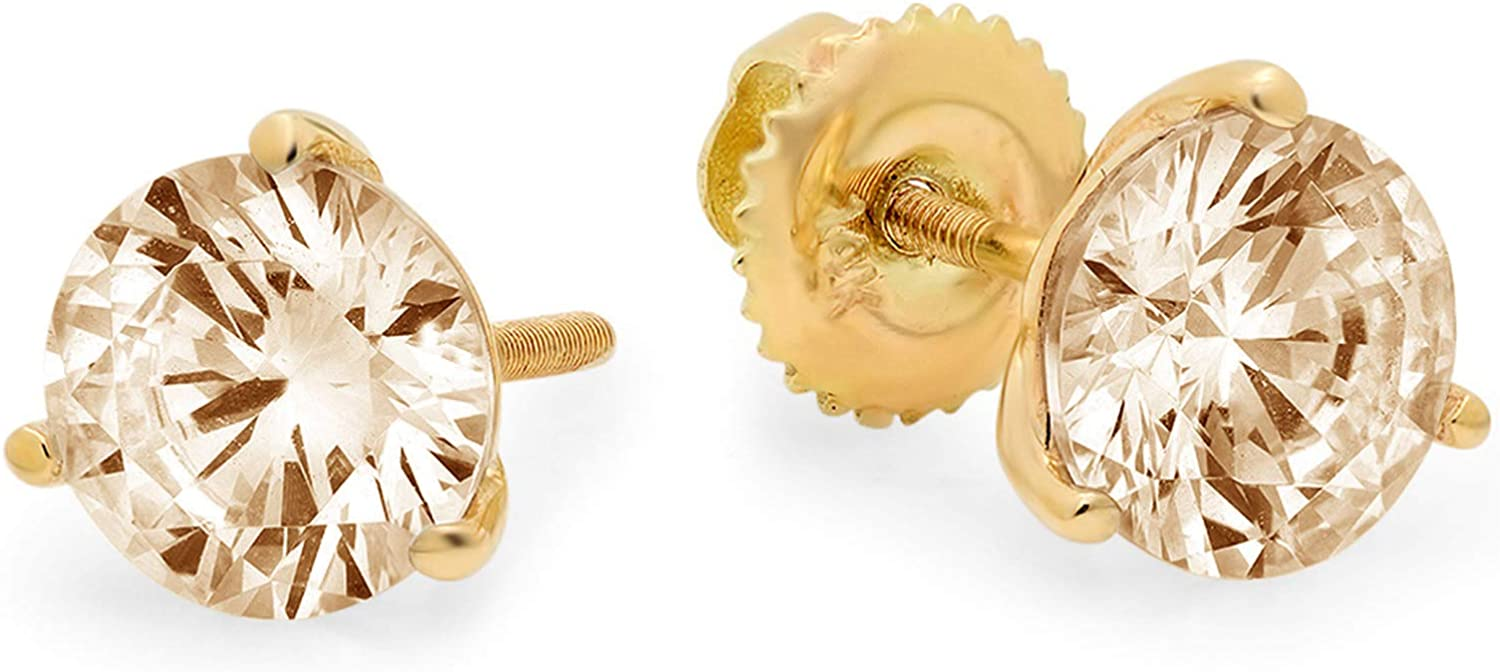 Clara Pucci 1.6 ct Brilliant Round Cut Solitaire Genuine Flawless Natural Brown Morganite Gemstone Pair of 3 prong Stud Martini Earrings Solid 18K Yellow Gold Screw Back