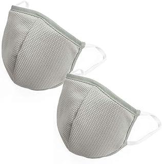 [Amazon限定ブランド] クール&ドライ日本製ハイブリッドマスク2枚セット(抗ウイルスシート各1枚付き)(オールシーズン可) (ライトグレー, 大人用L) OUTDOOR HILLS