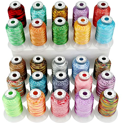 New brothread 25 Colors Variegated Polyester Embroidery Machine Thread Kit 500M (550Y) Each Spool for Brother Janome Babylock Singer Pfaff Bernina Husqvaran Embroidery and Sewing Machines