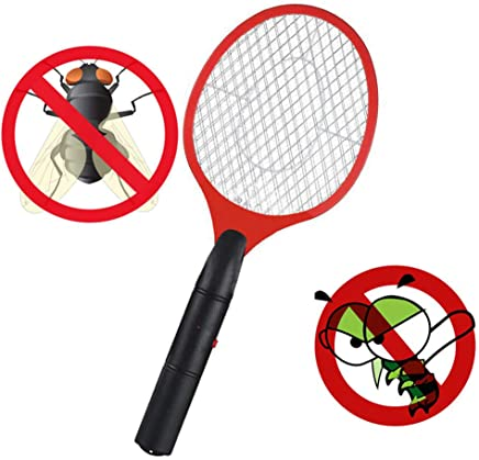 Departure Electric Fly Swatter - Multifunction Bug Zapper Fly Insect Racket Killer, 3V 3-Layer Oversized Mesh Mosquito Repellent & Insect Bug Killer for Indoor and Outdoor(Red)