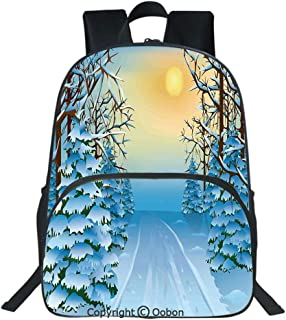 Oobon Kids Toddler School Waterproof 3D Cartoon Backpack, Forest View Paint Print with Snowy Path between Trees and Sun on Sky, Fits 14 Inch Laptop