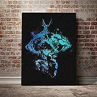 オールマイトアンドデクブンハファンアートポスターキャンバスウォールアートデコレーションプリントリビングキッドチルドレンルームホームベッドルームデコレーション/ 60x80cm(フレームなし)