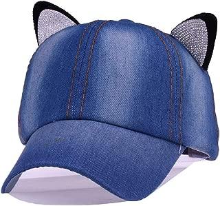 LVUITTON New Women's Solid Color Cartoon Cute Children's Cat Ears Diamond Cowboy Hat Baseball Cap Casual Adjustable Sun Hat Sports Comfortable Breathable (Color : Light blue)