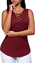 Women's Summer Sleeveless V-Neck Criss Cross Tank Tops Lace-up Ribbed Cami Shirt
