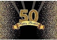 新しい2.1x1.5mポリエステル背景50歳の誕生日の背景キラキラスパンコール光線金黒の背景写真のための子供のパーティーの写真スタジオの小道具