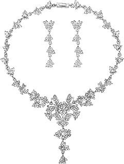 مجموعة مجوهرات الزفاف من ميركريش على شكل ورقة مكعب زركونيا قلادة وتاج للنساء، هدايا عيد الحب