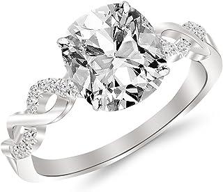 1.13 Ctw 14K White Gold GIA Certified Cushion Cut Twisting Infinity Gold and Diamond Split Shank Pave Set Diamond Engagement Ring, 1 Ct G-H VVS1-VVS2 Center