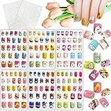 Kalolary 144 PCS uñas postizas para niños, presione sobre el pegamento de la cubierta completa Patrón de animales Kits de uñas postizas cortas, Regalo para niña