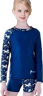 FAFSGOD Girls Rash Guard Swimsuit Sets Two Pieces Long Sleeve Bathing Suit UPF50+ UV Beach Swimwear for Kids 4-16 Years