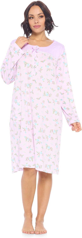Casual Nights Women's Long Sleeve Nightgown | Printed Henley Sleepwear Nightshirt