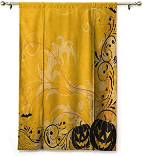 HCCJLCKS Children's Room Roman Curtain Halloween Carved Pumpkins with Floral Patterns Bats and Web Horror Jack o Lantern Artwork Privacy Protection Orange Black W48 xL72